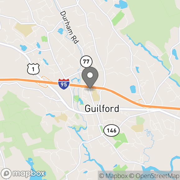 Map in Guilford, Connecticut for Ashley Hines Lunt therapy location.