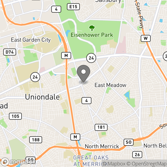 Map in East Meadow, New York for Kyle P.  Cattell therapy location.