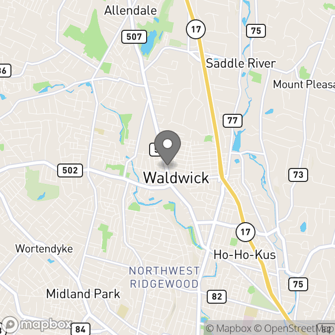 Map in Waldwick, New Jersey for Dr. Nicole (Nikki) Lacherza-Drew therapy location.