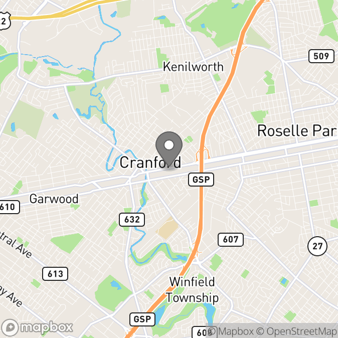 Map in Cranford, New Jersey for Silvina Falcon - Levine, MSW, LCSW therapy location.