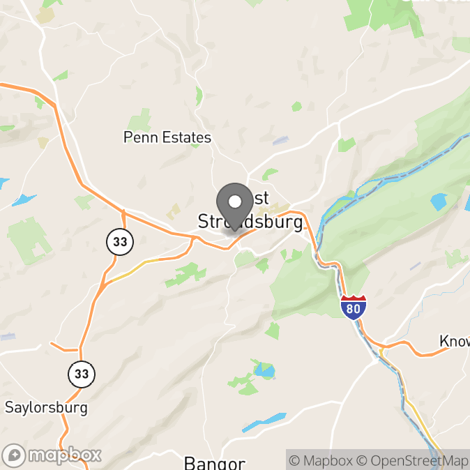 Map in Stroudsburg, Pennsylvania for John Miller therapy location.