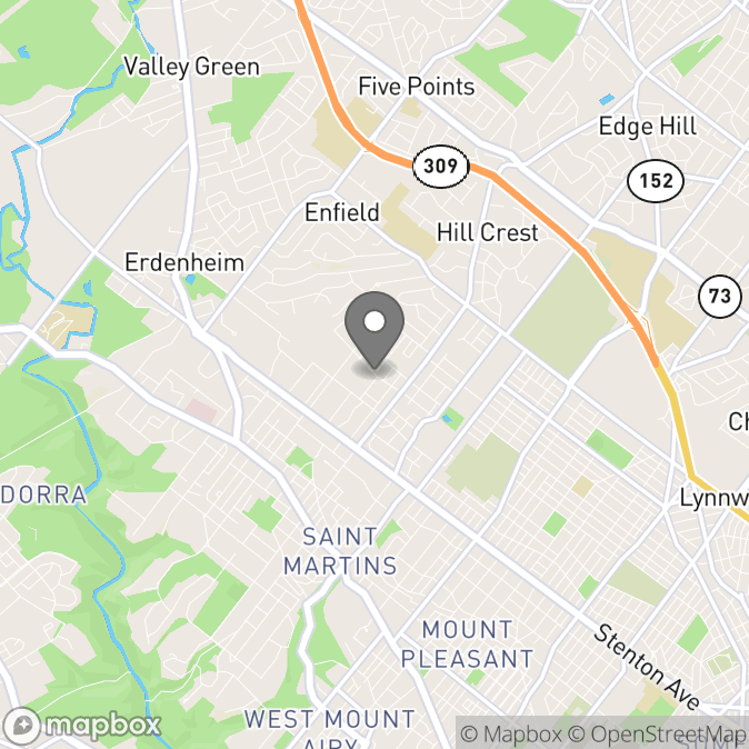 Map in Glenside, Pennsylvania for Rebecca Tendler, Ph.D. therapy location.