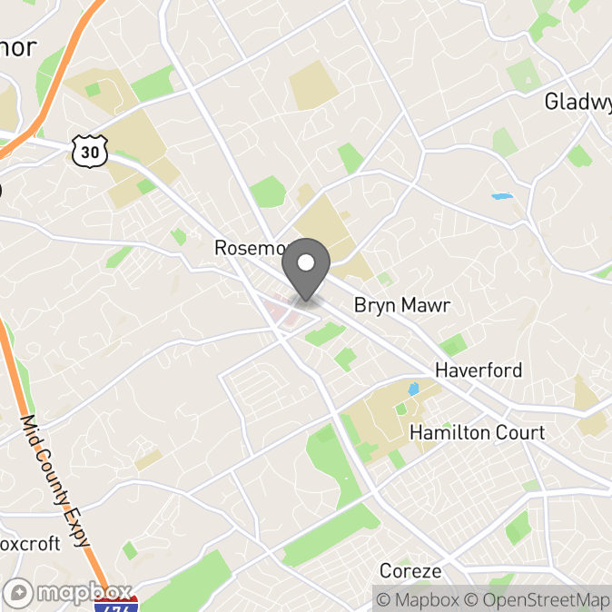 Map in Bryn Mawr, Pennsylvania for Michael Green therapy location.