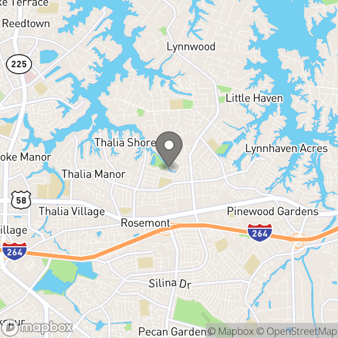 Map in Virginia Beach, Virginia for Arisza Hillman therapy location.