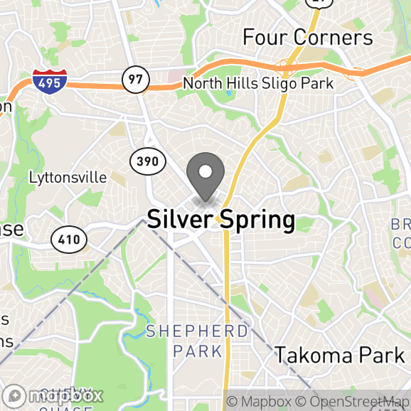 Map in Silver Spring, Maryland for Laurel Fay, M.S., LCMFT therapy location.