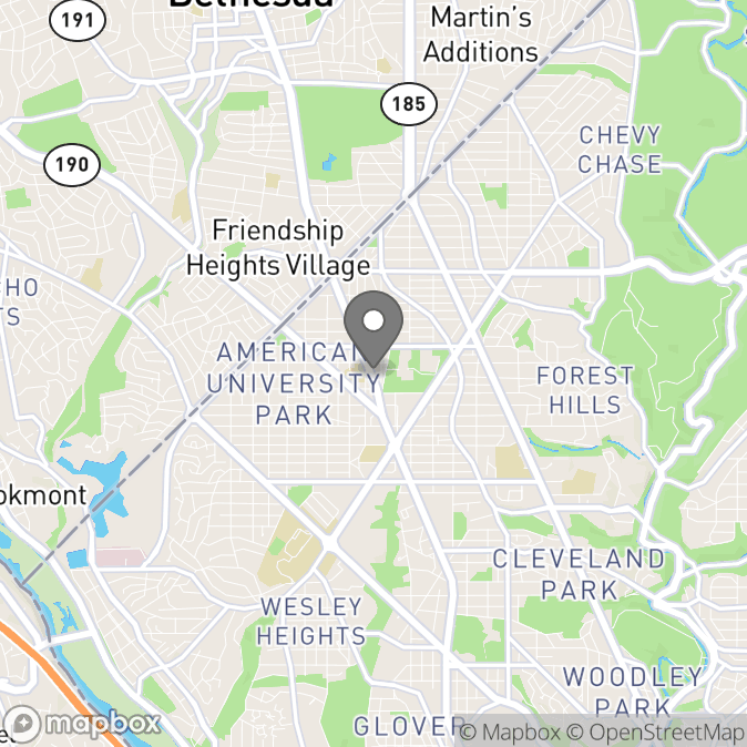 Map in Washington, District of Columbia for James Gray therapy location.