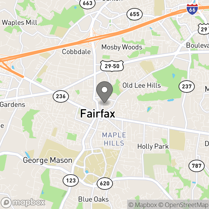 Map in Fairfax, Virginia for Catherine Norman therapy location.