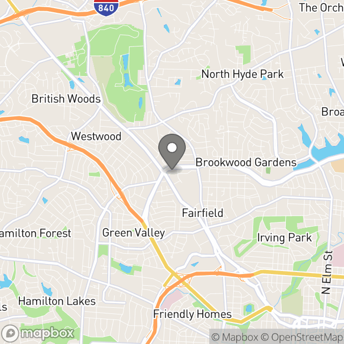 Map in Greensboro, North Carolina for Nicole Osborne therapy location.