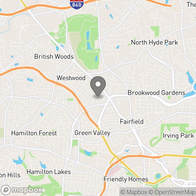 Map in Greensboro, North Carolina for Dominique Hickman therapy location.