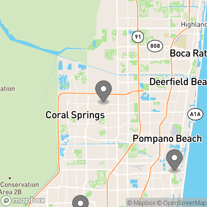 Map in Fort Lauderdale, Florida for Jessica Jefferson therapy location.