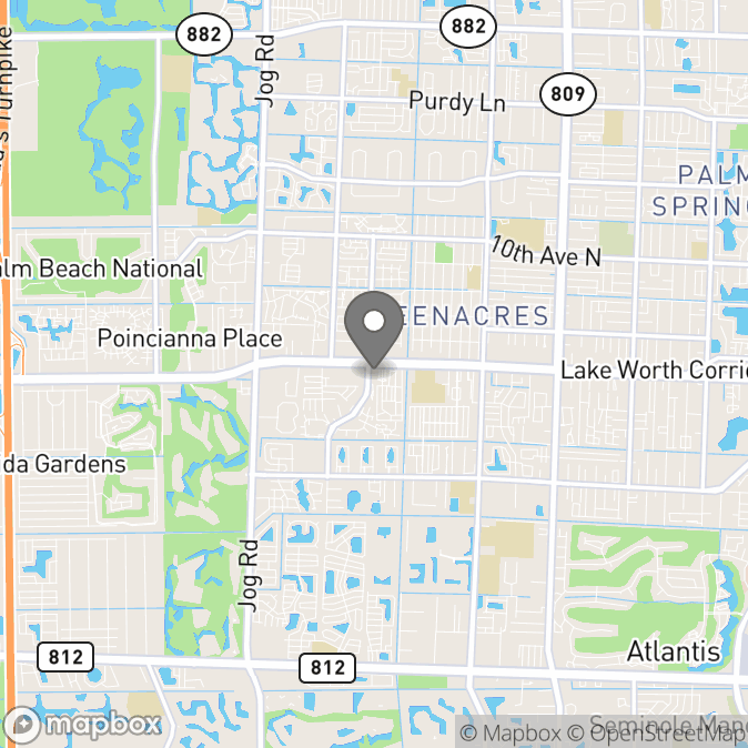 Map in Lake Worth, Florida for Rachel Spangler therapy location.