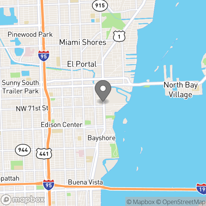 Map in Miami, Florida for Mara Fisher therapy location.