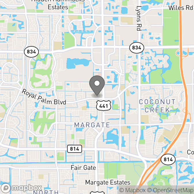 Map in Pompano Beach, Florida for Theresa Olson therapy location.