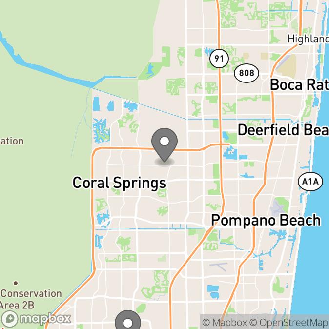 Map in Pompano Beach, Florida for Jessica Jefferson therapy location.