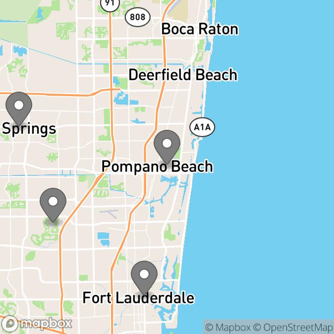 Map in Pompano Beach, Florida for Naomi Simon therapy location.
