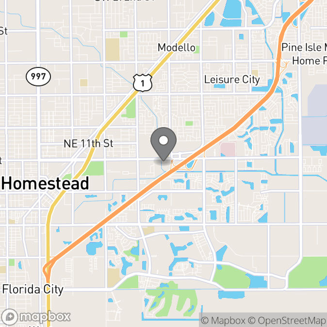 Map in Homestead, Florida for Rosaura Yepez therapy location.