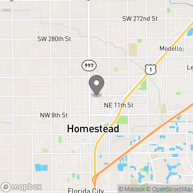 Map in Homestead, Florida for Jacqueline Santana Sparber therapy location.