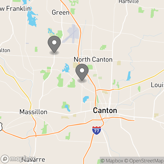 Map in Canton, Ohio for Dr. Teresa Rogers therapy location.