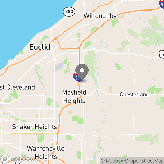 Map in Cleveland, Ohio for Dr. Teresa Rogers therapy location.