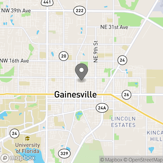 Map in Gainesville, Florida for JD Wright therapy location.