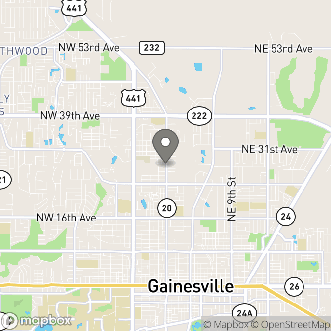 Map in Gainesville, Florida for Paige Wolke therapy location.