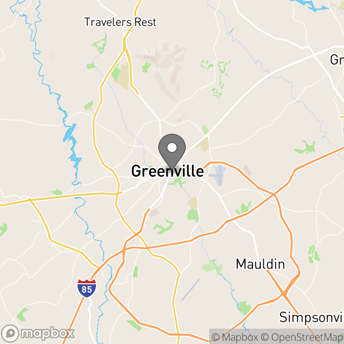 """Map in Greenville, South Carolina for Barbara """"Barbie"""" Hershberger therapy location."""