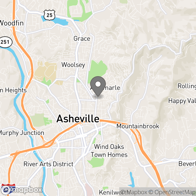 Map in Asheville, North Carolina for Jess Otolinsky therapy location.