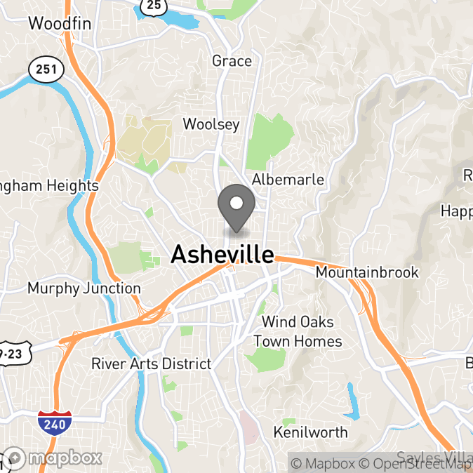 Map in Asheville, North Carolina for Stacey Curnow therapy location.