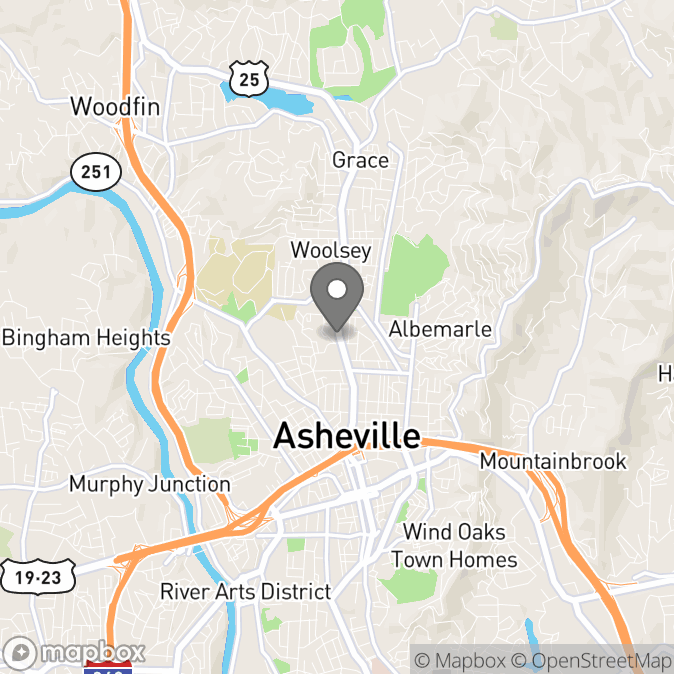 Map in Asheville, North Carolina for Samantha Osborne therapy location.