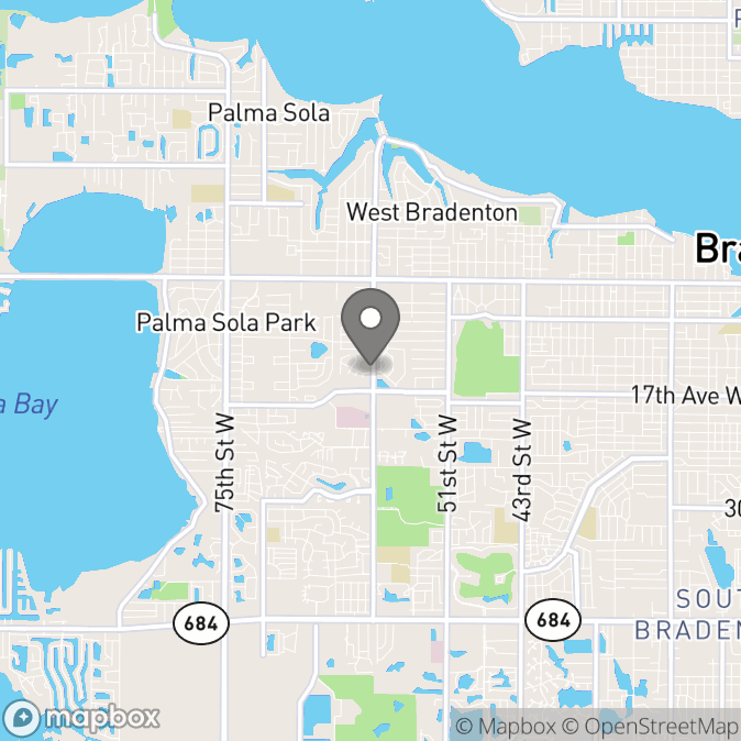 Map in Bradenton, Florida for Tricia Sadler therapy location.