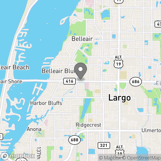 Map in Clearwater, Florida for Elizabeth  Underwood therapy location.