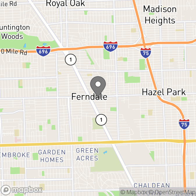 Map in Ferndale, Michigan for Josh Curie therapy location.