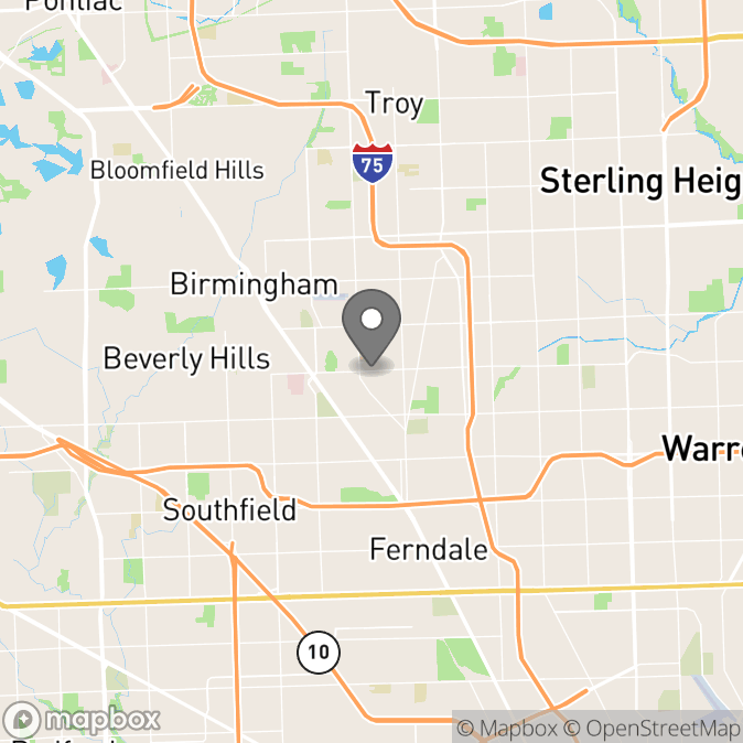 Map in Royal Oak, Michigan for Kat Polmear therapy location.