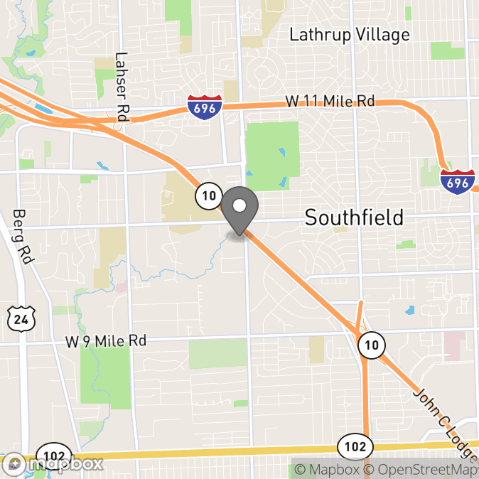 Map in Southfield, Michigan for Odis Bellinger therapy location.