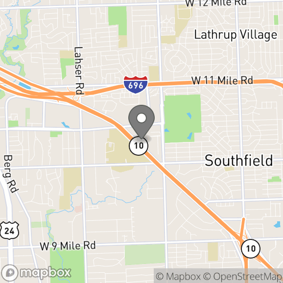 Map in Southfield, Michigan for Robin McCoy therapy location.