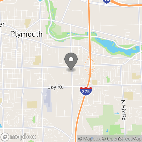 Map in Plymouth, Michigan for Elizabeth Carrington therapy location.