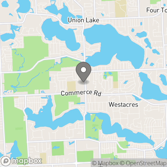 Map in Commerce Township, Michigan for Monica Pitek-Fugedi therapy location.