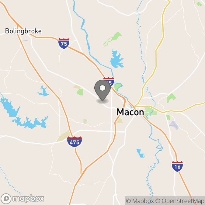 Map in Macon, Georgia for Sonya Mentz therapy location.