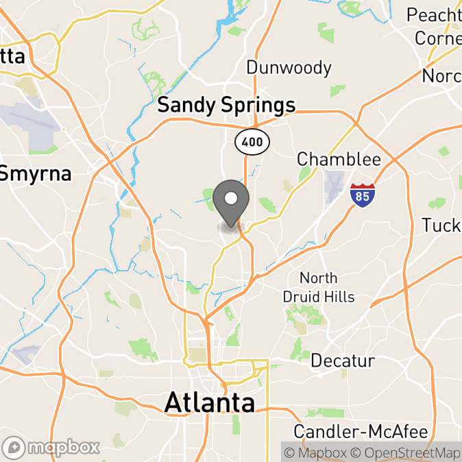 Map in Alpharetta, Georgia for Dr. Nina Cabral therapy location.