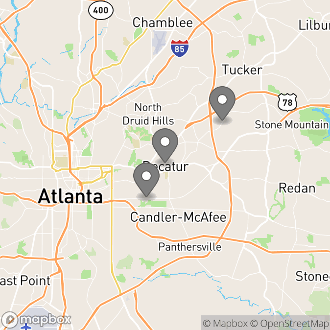 Map in Atlanta, Georgia for Caroline Gebhardt therapy location.