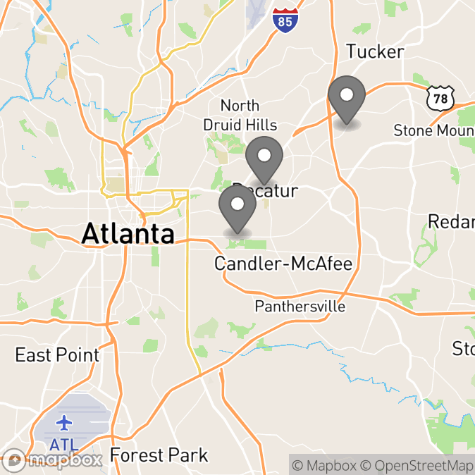 Map in Atlanta, Georgia for Caroline Gebhardt therapy location.