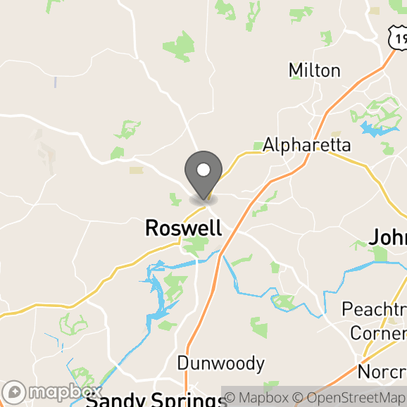 Map in Roswell, Georgia for Lisa Hedden therapy location.
