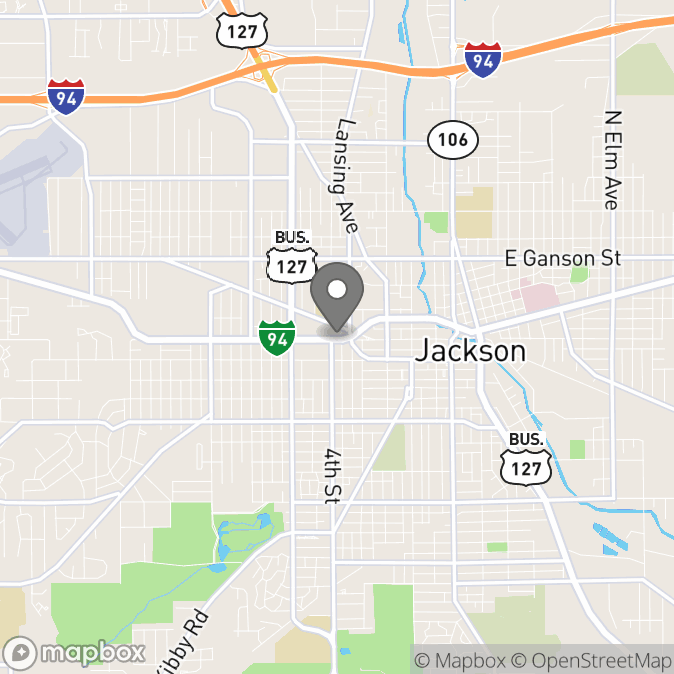Map in Jackson, Michigan for Sara Beg therapy location.