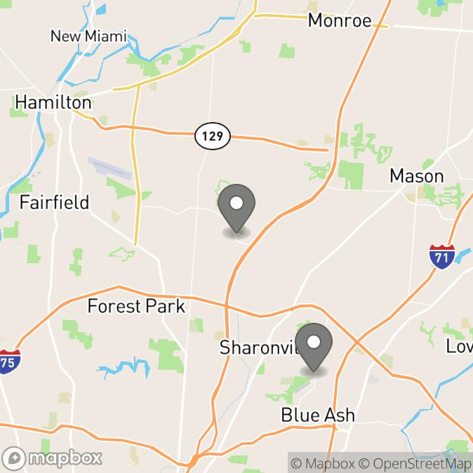 Map in Cincinnati, Ohio for Chris Sheehan therapy location.