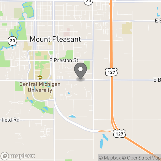 Map in Mount Pleasant, Michigan for Sydney Davis therapy location.