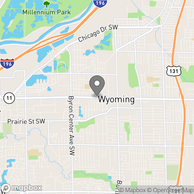 Map in Wyoming, Michigan for Reynelda Jones therapy location.