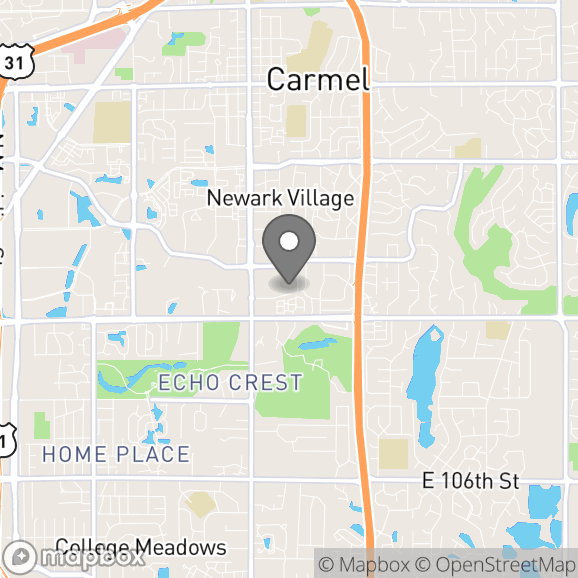 Map in Carmel, Indiana for Jim Rogers therapy location.