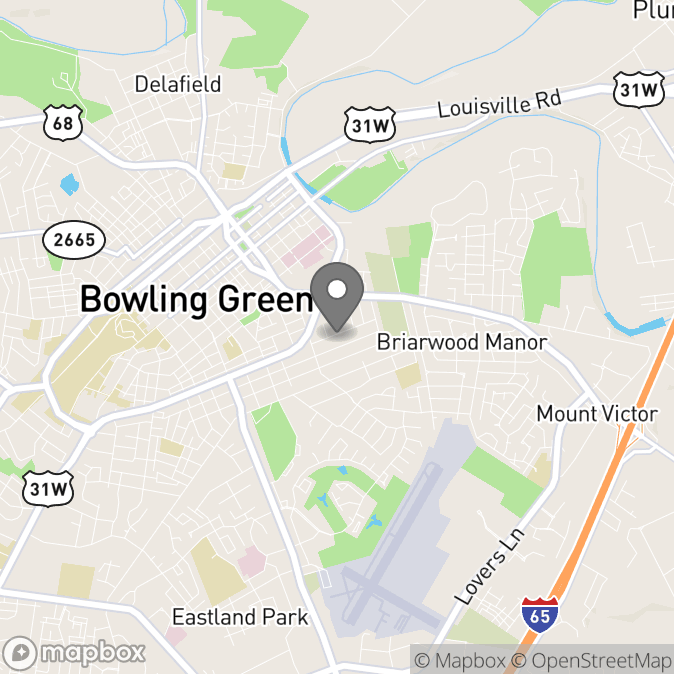 Map in Bowling Green, Kentucky for Sarah Whitledge therapy location.