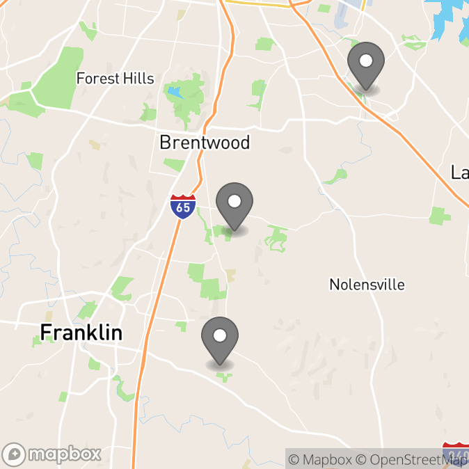 Map in Brentwood, Tennessee for Nakia Thomas therapy location.