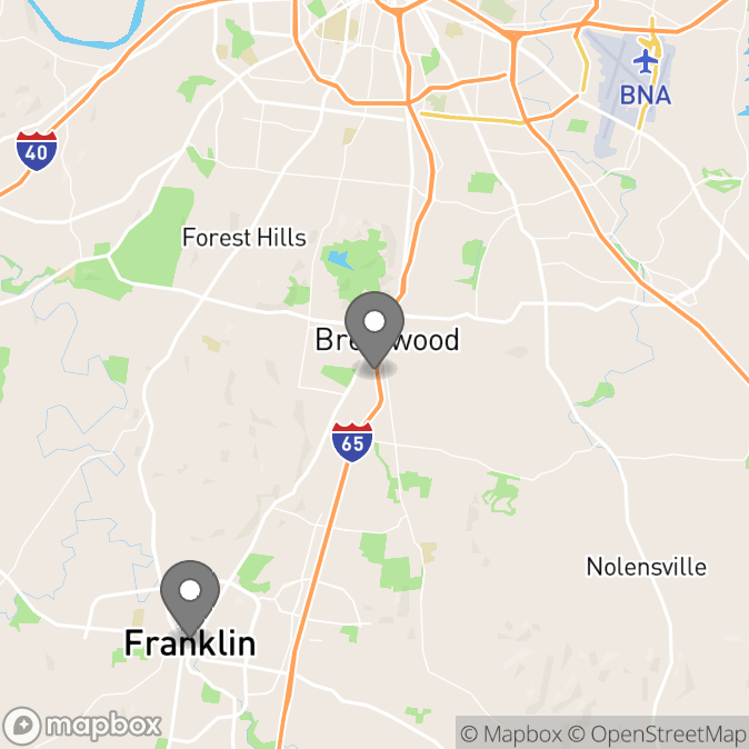 Map in Franklin, Tennessee for Linda Huber therapy location.